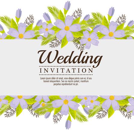 vintage wedding invitation with floral elements vector illustration graphic design