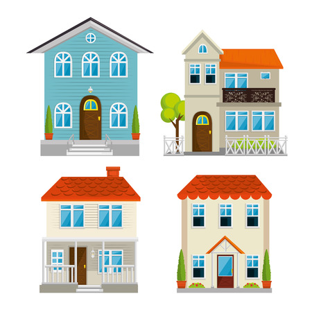 Set houses, buildings, and architecture variations in flat style design vector illustration graphic Illusztráció