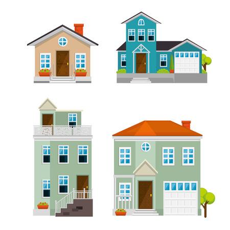 플랫 스타일 디자인 벡터 일러스트 그래픽에서 주택, 건물 및 건축물 변형 설정 일러스트