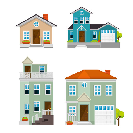 Set houses, buildings, and architecture variations in flat style design vector illustration graphic Ilustração