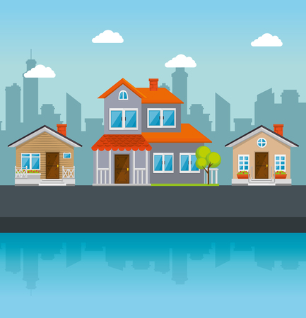 Kleurrijke huizen in buurt pictogram vector illustratie grafisch ontwerp Stockfoto - 80978423