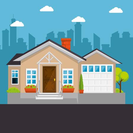 カラフルなコテージ フラット住宅ベクトル イラスト グラフィック デザイン