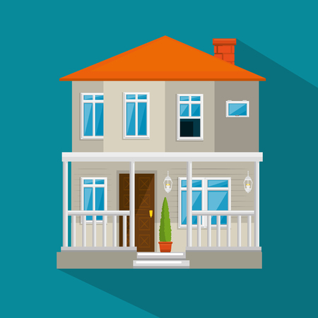colorful cottage flat residential houses vector illustration graphic design