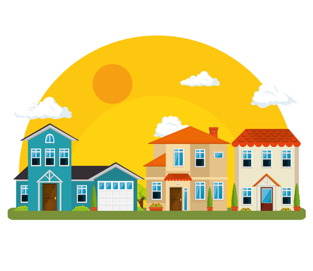 colorful houses in neighborhood icon vector illustration graphic design 向量圖像