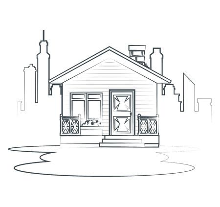 コテージ フラット住宅ベクトル イラスト グラフィック デザインをスケッチします。