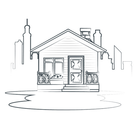 sketch cottage flat residential houses vector illustration graphic design