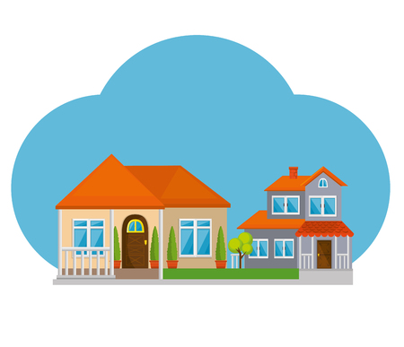 다채로운 코티지 플랫 주거 주택 벡터 일러스트 그래픽 디자인