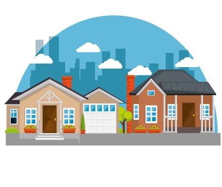이웃 아이콘 벡터 일러스트 그래픽 디자인에 다채로운 주택