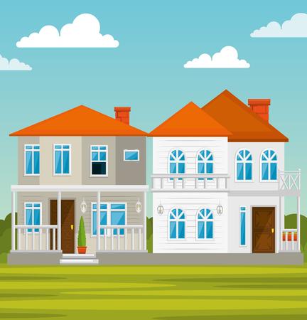 Kleurrijke huizen in buurt pictogram vector illustratie grafisch ontwerp Stockfoto - 80978430