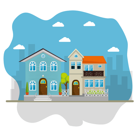 kleurrijke huizen in buurt pictogram vector illustratie grafisch ontwerp Stock Illustratie