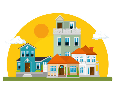 colorful houses in neighborhood icon vector illustration graphic design Illustration