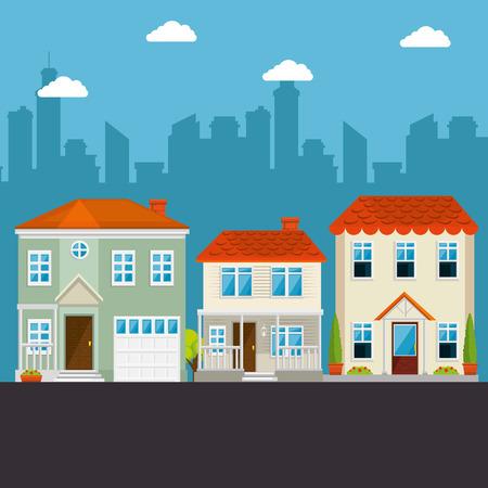 Kleurrijke huizen in buurt pictogram vector illustratie grafisch ontwerp Stockfoto - 80978433