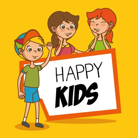 having fun: happy kids having fun cartoon vector illustration graphic design