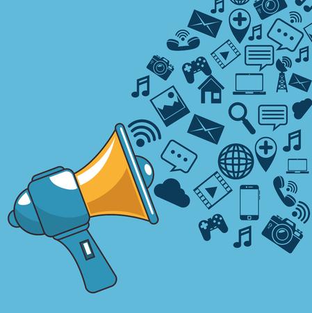 ソーシャル メディア ベクトル イラスト グラフィック デザインとコミュニケーションとプロモーション戦略