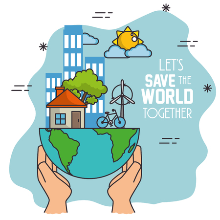 Green Eco concept background and save the world concept design vector illustration graphic