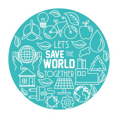 De groene Eco-conceptenachtergrond en bewaart de grafische illustratie van het wereldconceptenontwerp