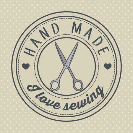 vintage hand made logotypes and labels craft knitting art labels tags with lettering vector illustration graphic design Reklamní fotografie - 80980648