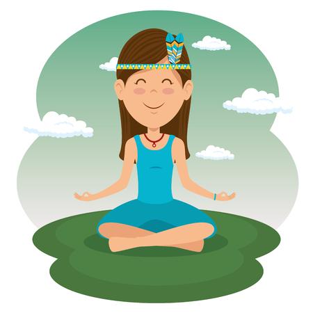 hippie woman meditating vector illustration graphic design Ilustracja