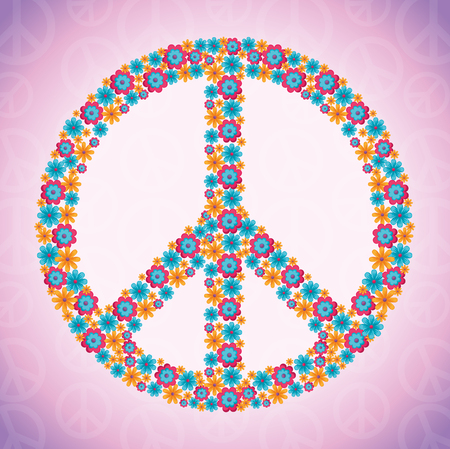 Hippie retro style background vector illustration graphic design Ilustração