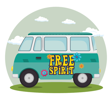 colorful hippie bus vector illustration graphic design
