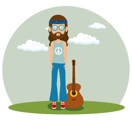hippie man with a guitar cartoon vector illustration graphic design Illustration