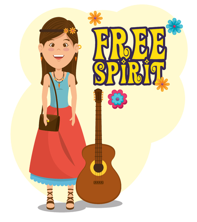hippie woman with a guitar cartoon vector illustration graphic design