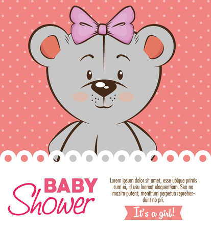 baby shower girl invitation card vector illustration graphic design