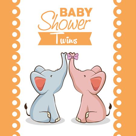 baby shower twins invitation card vector illustration graphic design 向量圖像