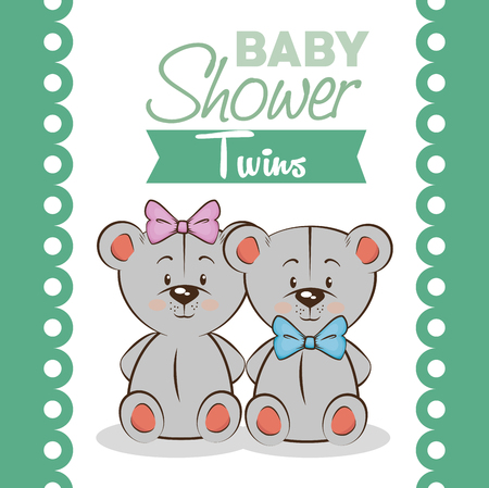 baby shower twins invitation card vector illustration graphic design Illustration