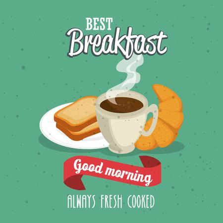 朝食の食べ物や飲み物のベクトル イラスト グラフィック デザイン コンセプト