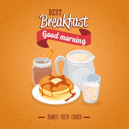 ontbijtconcept met voedsel en dranken vectorillustratie grafisch ontwerp