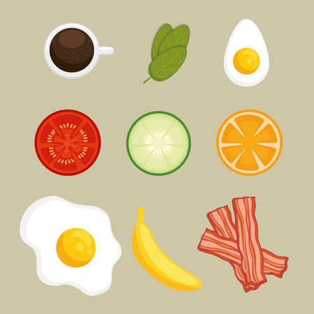 set of breakfast icons vector illustration graphic design
