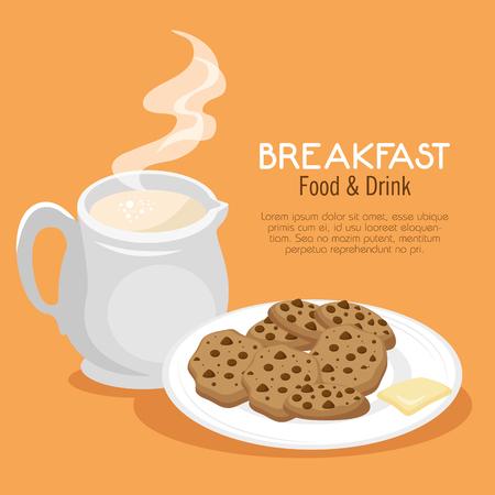 ontbijt concept met eten en drinken vector illustratie grafisch ontwerp