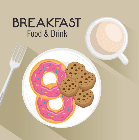 donut style: breakfast concept with food and drinks vector illustration graphic design
