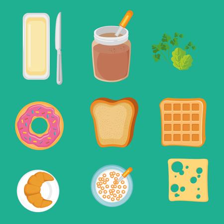 朝食のアイコン ベクトル イラスト グラフィック デザインを設定します。  イラスト・ベクター素材
