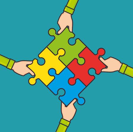handen maken een puzzel samen groepswerk bedrijfsconcept vector illustratie grafisch ontwerp