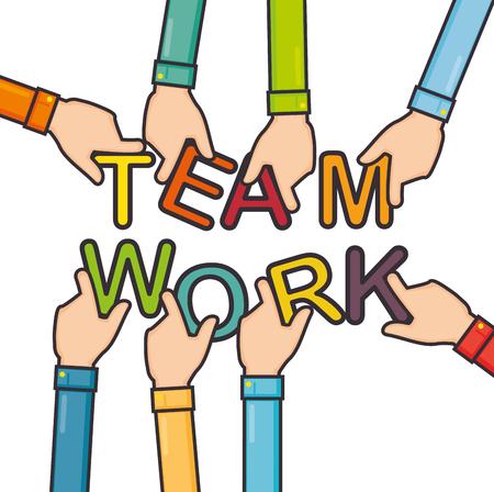 手グループ チームワーク ビジネス概念ベクトル イラスト グラフィック デザインの統一  イラスト・ベクター素材