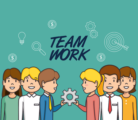 colleagues collaboration teamwork business concept vector illustration graphic design