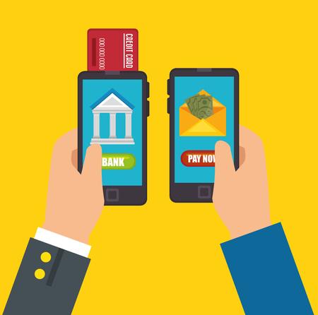 Ahorrar dinero concepto de banca móvil ilustración vectorial diseño gráfico Foto de archivo - 81002658