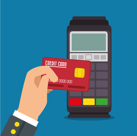 Payment terminal Pos machine with credit card vector illustration graphic design Illustration