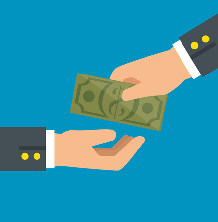 Hand giving cash and hand receiving cash vector illustration graphic design Stock Vector - 81000659