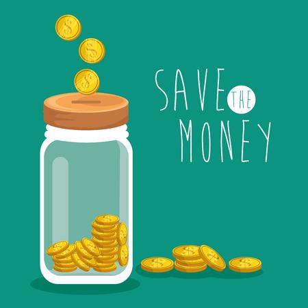 savings account: save money concept saving money jar vector illustration graphic design