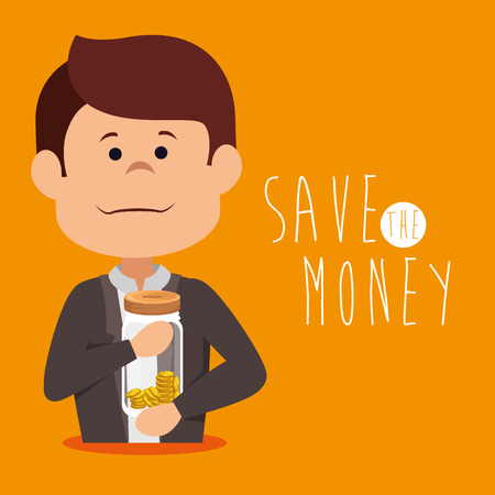 save money concept saving money jar vector illustration graphic design