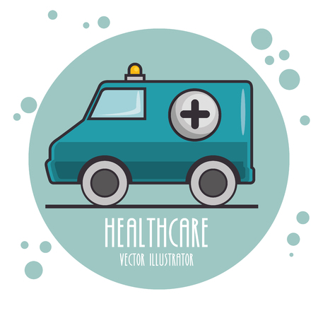 emergency ambulance icon on blue round vector illustration graphic design