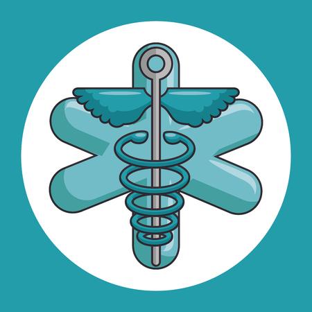caduceus medical symbol vector illustration graphic design