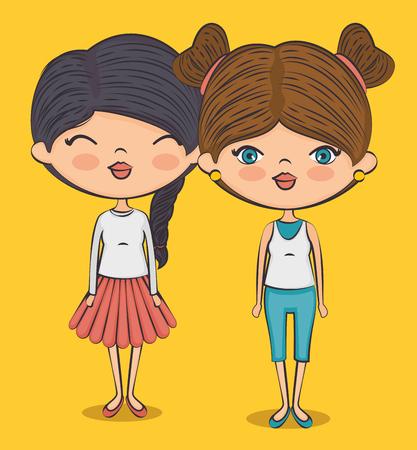 stijlvolle tiener meisjes cartoon vector illustratie grafisch ontwerp