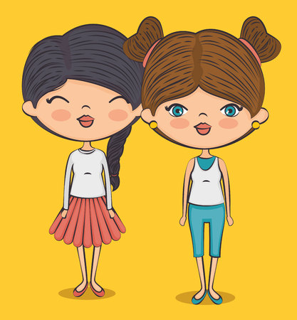 stylish teenager girls cartoon vector illustration graphic design