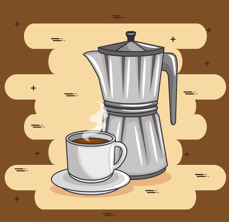 A coffee maker and cup of coffee design vector illustration graphic design.