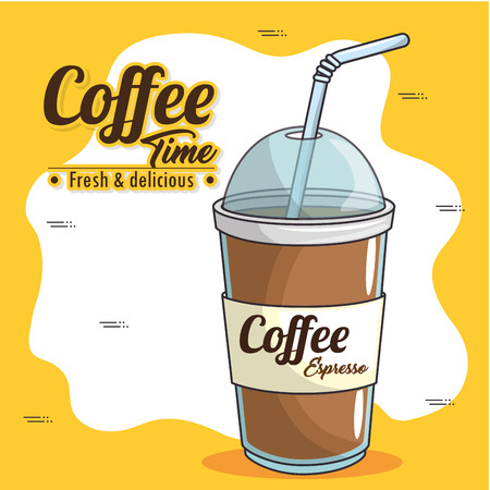 frappe and cold drink coffee vector illustration graphic design Çizim
