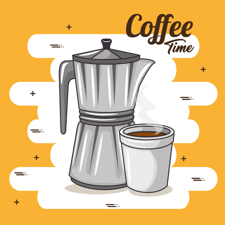 coffee maker and cup of coffee design vector illustration graphic design